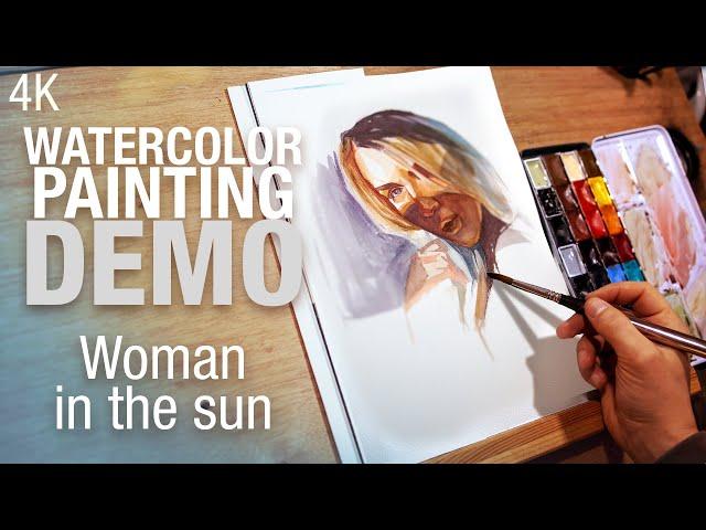 🎨 Demo Aquarelle   Peindre une femme au soleil 4K