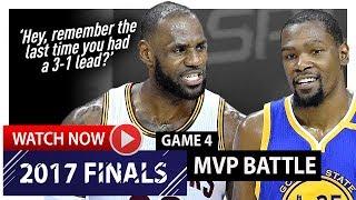 LeBron James vs Kevin Durant Game 4 MVP Duel Highlights (2017 Finals) Cavaliers vs Warriors - EPIC
