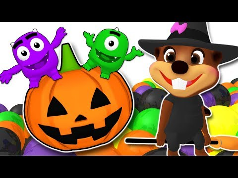 Learn Colors & ABC Alphabet with Halloween Songs Collection   Super Circus 3D Pumpkin Smash
