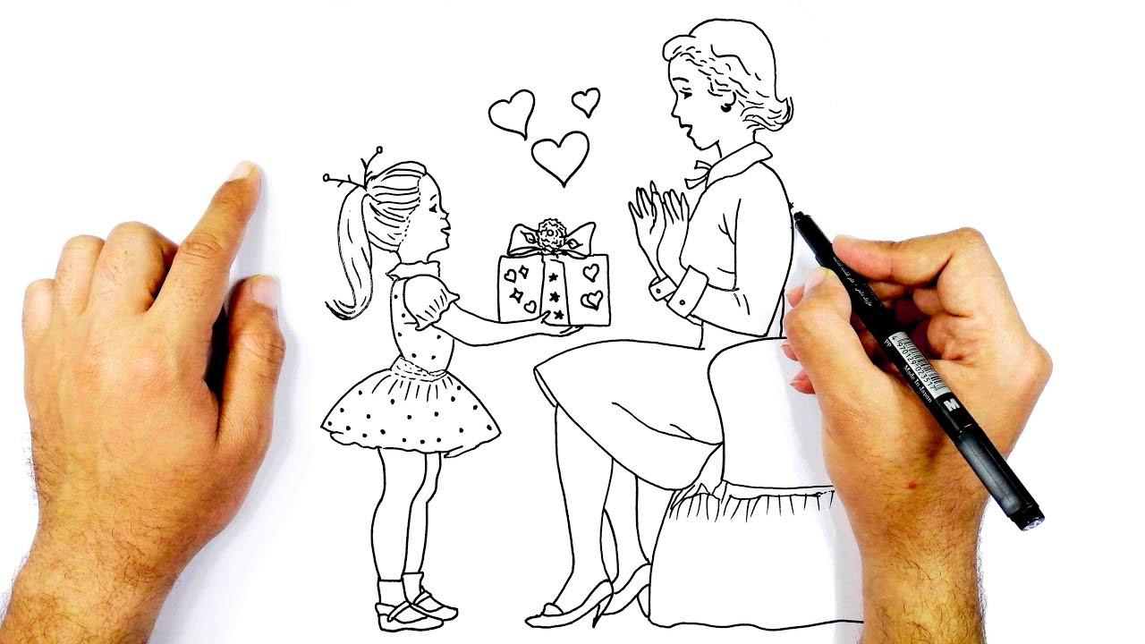 رسم موضوع عن عيد الام خطوة بخطوة للمبتدئين ||  كيف ترسم عيد الام