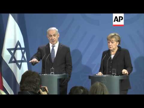 Netanyahu and Merkel on MidEast crisis, protest against Israel PM