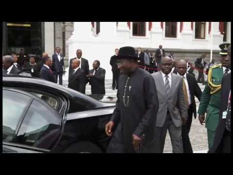 Photomontage of the President of Nigeria: HE Mr Goodluck Ebele Jonathan's in the Parliament of RSA