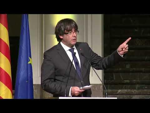 El discurso de Carles Puigdemont ante los 200 alcaldes desplazados hasta Bruselas