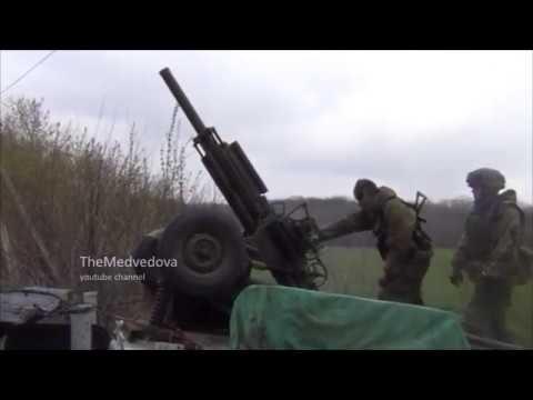"""Мобильный миномет ДНР за работой   Ukraine׃ Mobile mortar """"Vasilek"""" Novorossiya militia firing"""