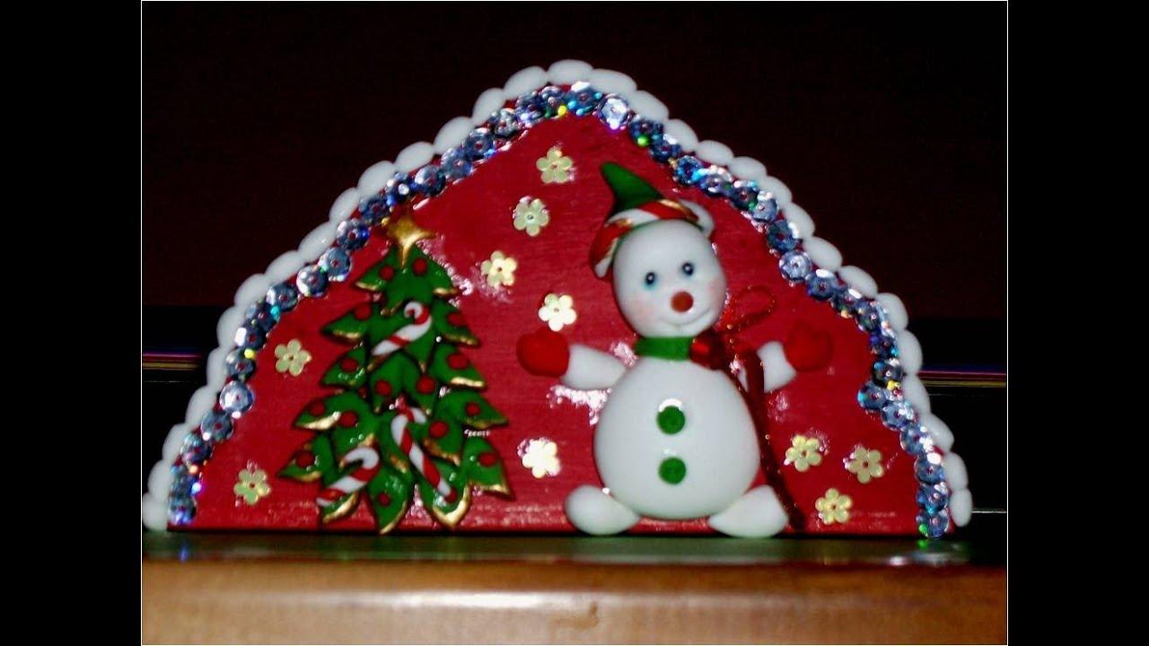 Manualidades navide as servilletero de porcelana fr a con for Villas navidenas de porcelana