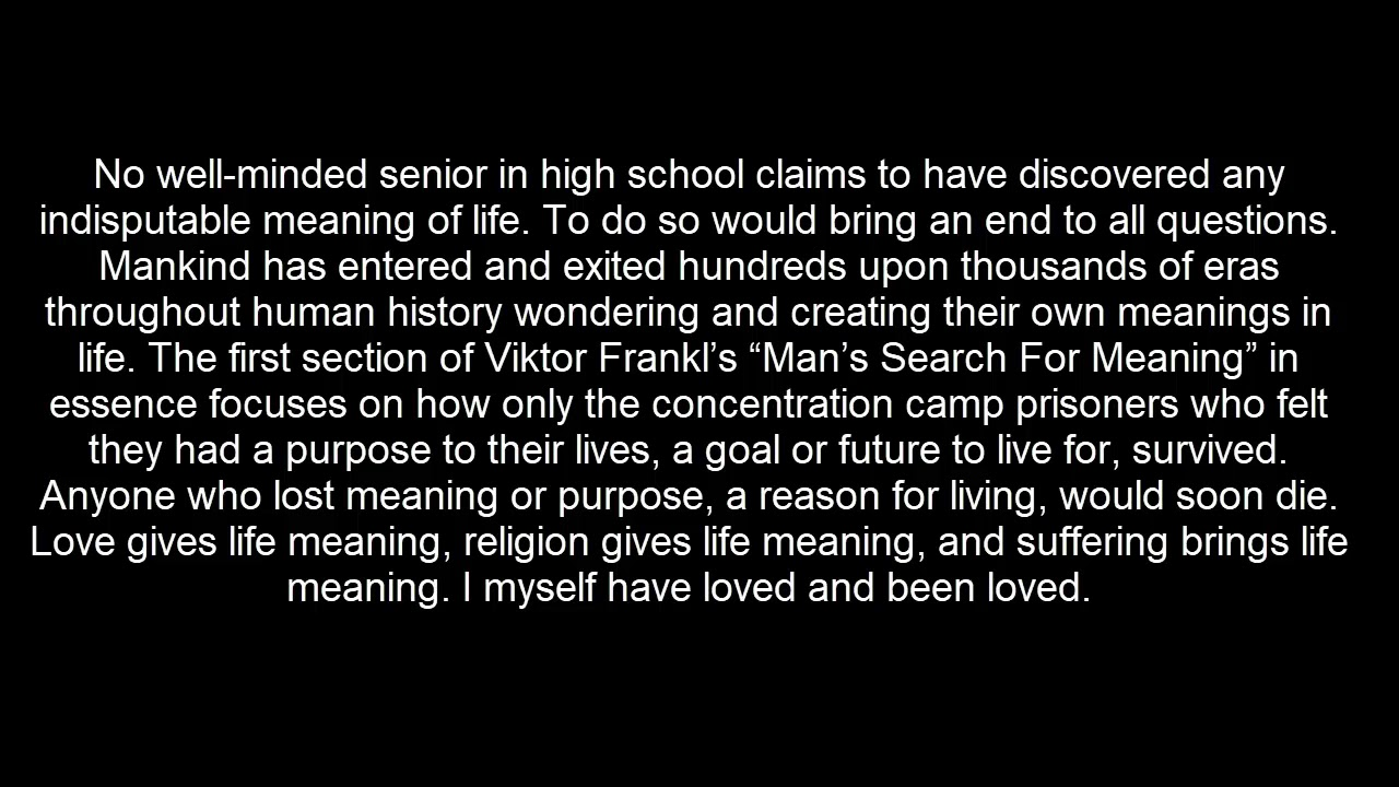 The meaning of Life and other lies - YouTube