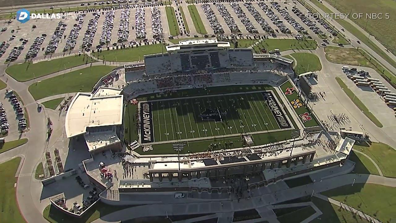 Aerial Footage Of 70 Million Dollar Mckinney Isd Stadium On Opening Night Youtube
