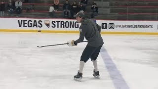 Marc-Andre Fleury shows off puck juggling skills