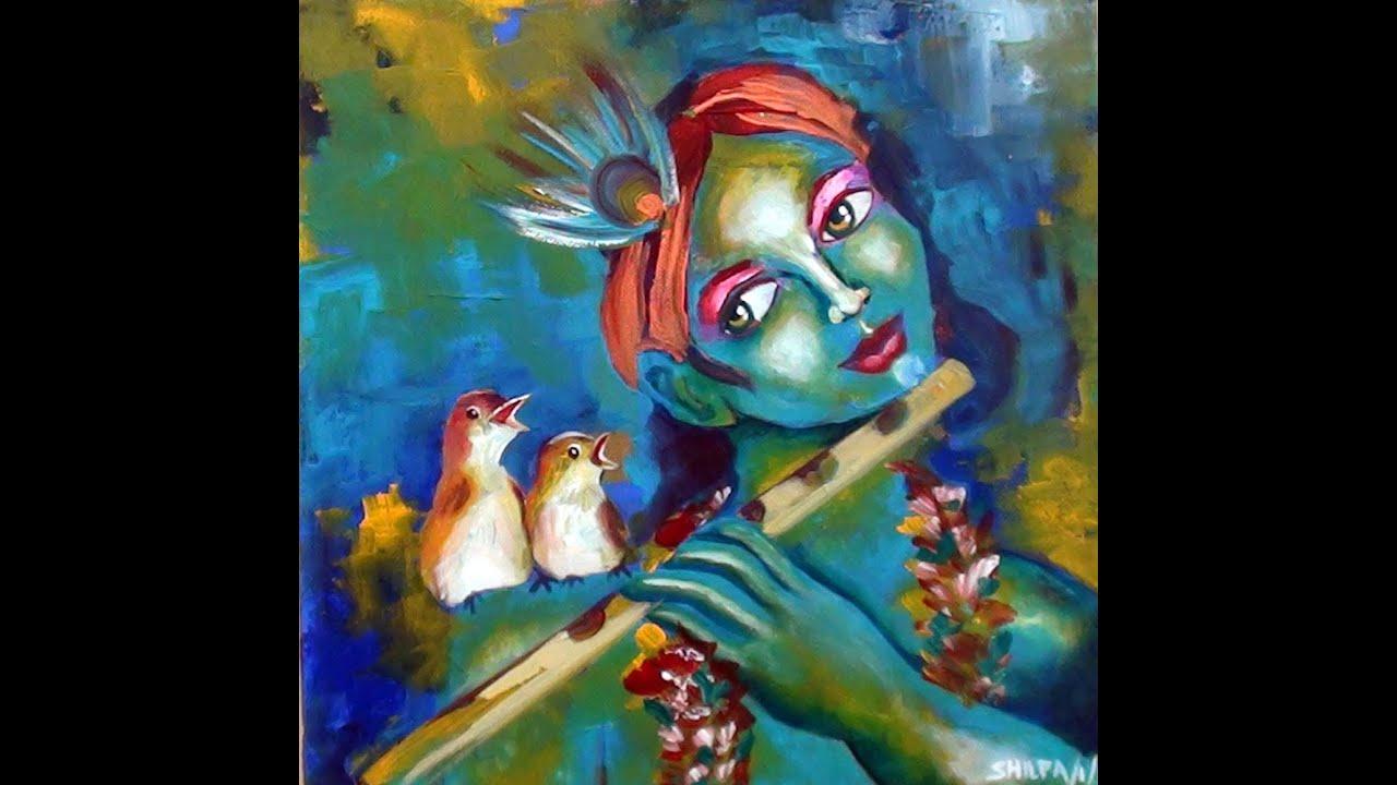 Birds Singing With Krishna Acrylic Speed Painting