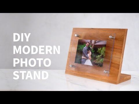 DIY modern wood & acrylic photo stand
