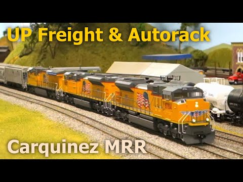 Union Pacific Mixed Freight & Autorack Trains at Carquinez Model Railroad Society CMRS [with music]