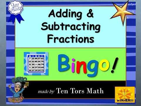 picture regarding Addition Bingo Printable called Including Fractions Bingo! recreation