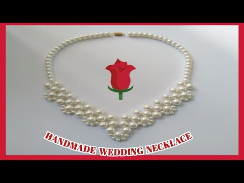 #91//❤️HOW TO MAKE PEARL BEADED NECKLACE ❤️ // DIY WEDDING NECKLACE