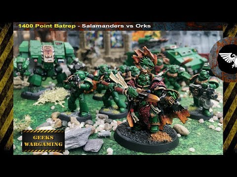 8TH EDITION BATTLE REPORT.. Salamanders vs Orks Warhammer 40k, 1400 points