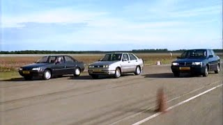 Lancia Dedra, Peugeot 405 and Seat Toledo comparison test, 1991.