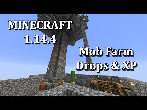 Minecraft 1.14.4 Water Channel Mob Farm - Drops And XPs!