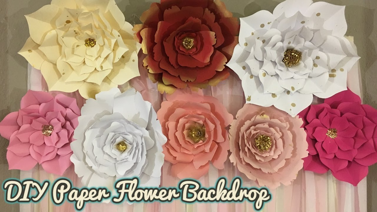 Paper Flower Backdrop | Pink, White, and Gold theme Party Backdrop | FREE TEMPLATE DOWNLOAD