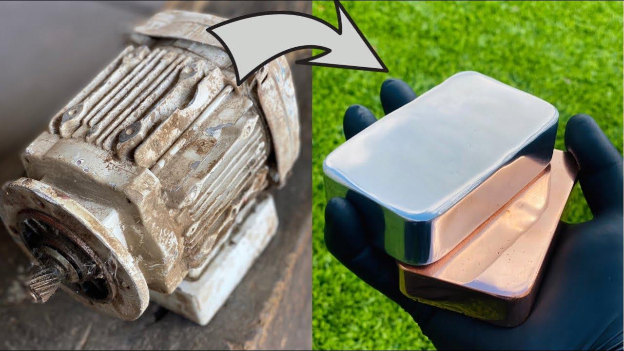 Scrapyard Motor Melt Down - Zinc Copper Aluminum - Trash To Treasure - ASMR Metal Melting BigStackD
