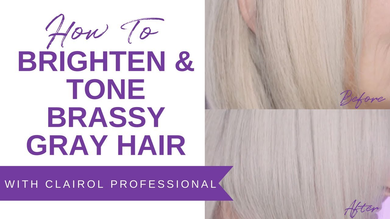 How To Brighten Tone Brassy Gray Hair With Clairol Youtube