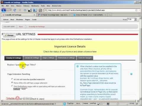 DotNetNuke Tutorial - How to setup URLs without .ASPX page extensions in DotNetNuke? - Video #258