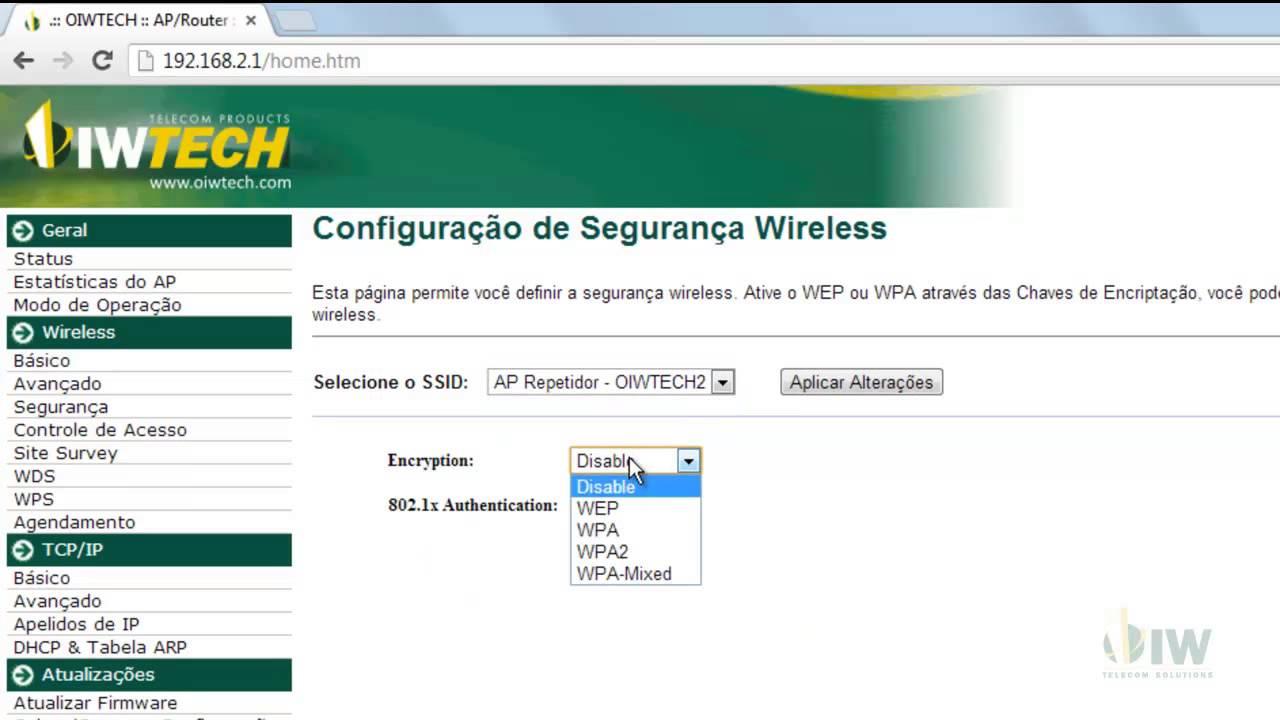 e38421bb9c Como fazer para configurar o OIWTECH OIW-2431APGN como Repetidor Universal   - YouTube