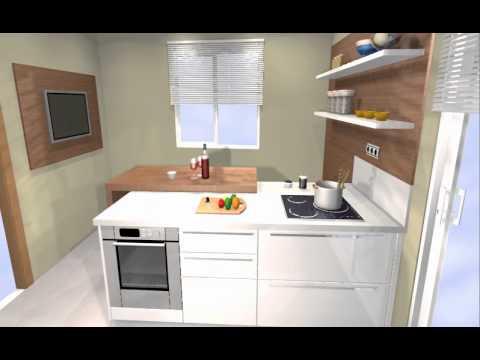 Cocina en pen nsula con barra sobrepuesta arredo youtube for Islas de cocina con desayunador