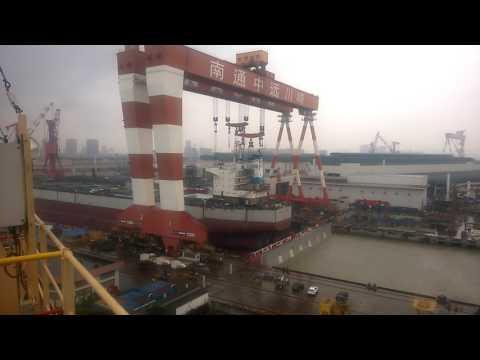 Lifting a accomadation of a ship in COSCO NANTONG china