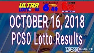 PCSO Lotto Results Today October 16, 2018 (6/58, 6/49, 6/42, 6D, Swertres, STL & EZ2)