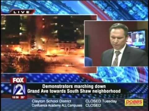 KTVI Fox2 St. Louis covers Ferguson riots (9:20 to 11:05pm) 11-24-14