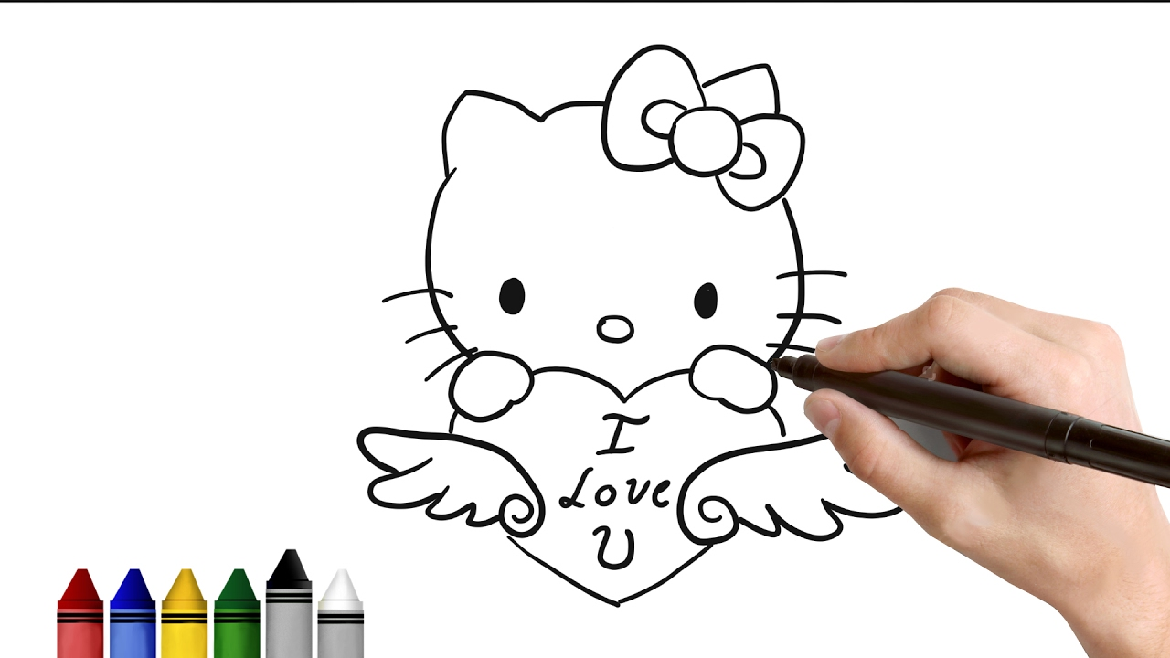How To Draw Hello Kitty For Valentines Day Drawing For Kids Tutorial