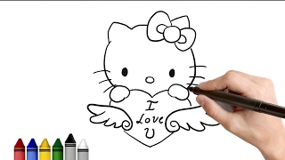 How to Draw Hello Kitty for valentines Day    Drawing for kids Tutorial   Art Lessons  KidsAtWork