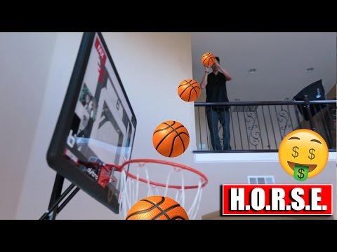 MINI HOOP TRICKSHOT H.O.R.S.E. CHALLENGE! LOSER PAYS RENT!