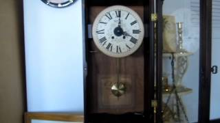 Vintage New England Clock Company Wall Clock Wood Wall Clock Key Wind Clock