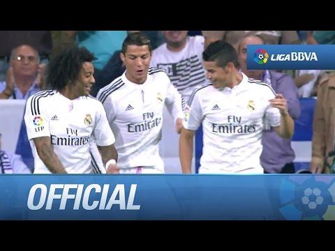 Cristiano Ronaldo bailando tras el gol, con Marcelo y James