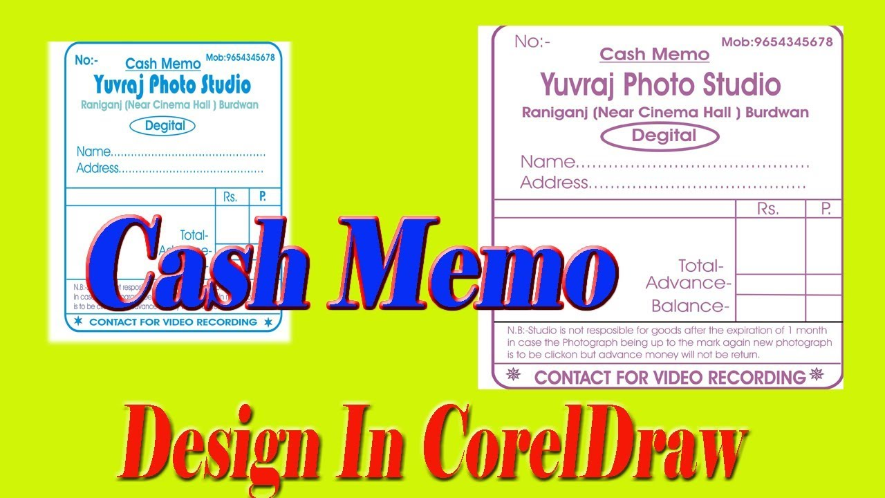 coreldraw 11 how to create or design cash memo youtube