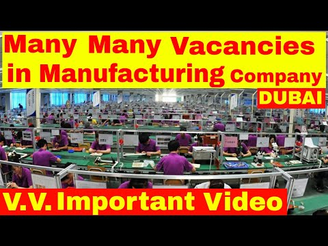 Many Vacancies Open in Manufacturing Company Sharjah || Jobs in