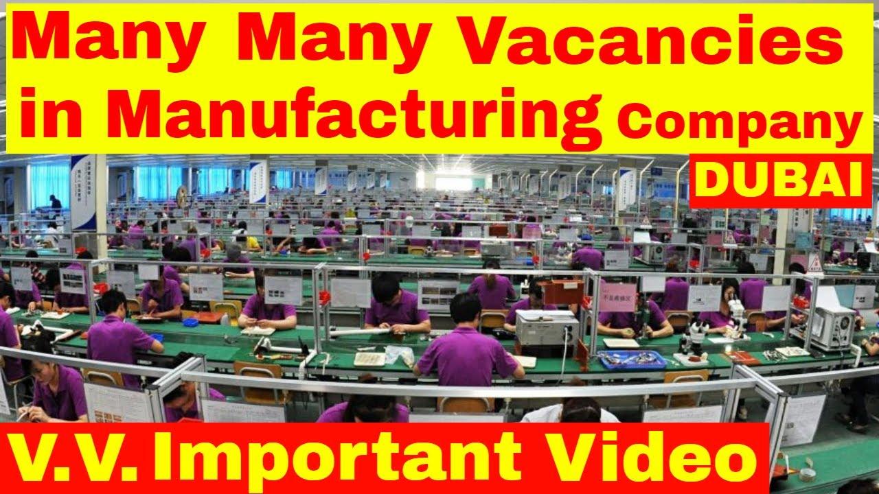 Many Vacancies Open in Manufacturing Company Sharjah || Jobs in Dubai