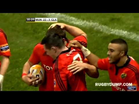 CJ Stander 80m sprint try vs Glasgow Warriors on Munster home debut