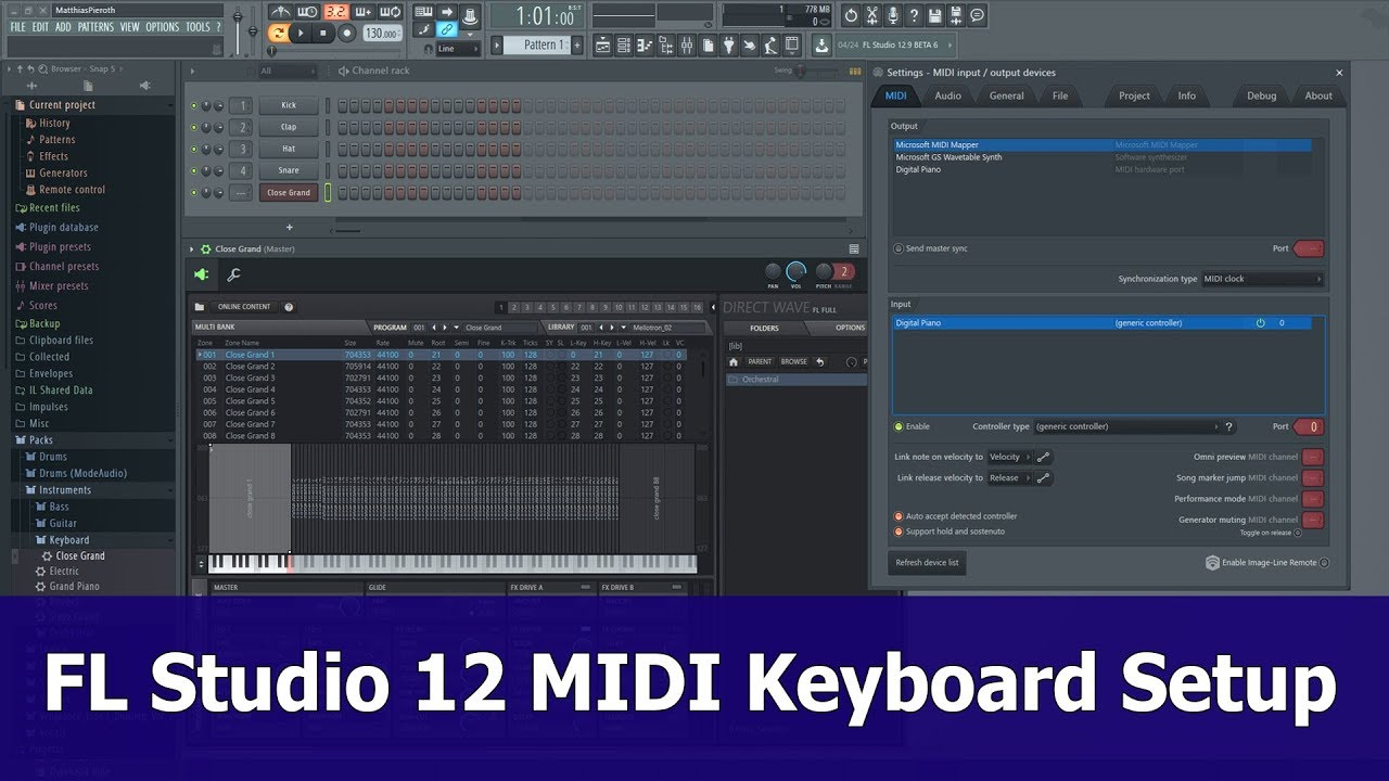 fl studio 12 midi keyboard setup youtube. Black Bedroom Furniture Sets. Home Design Ideas