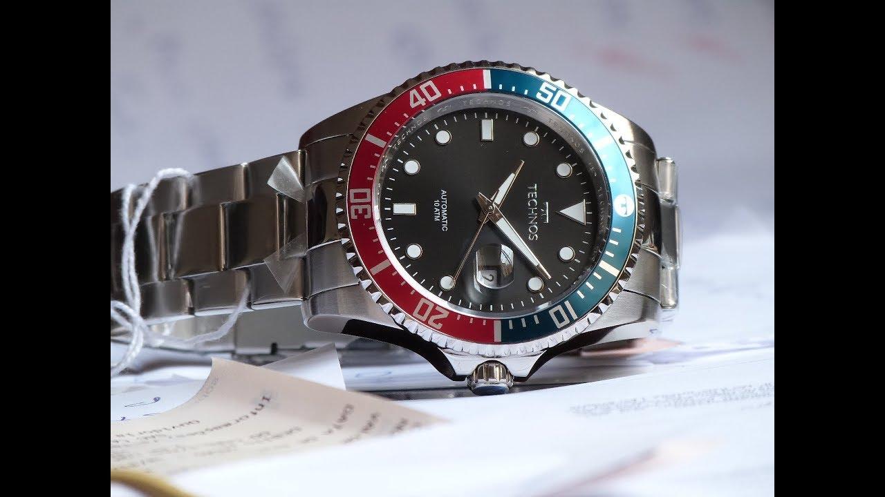 ce65035be9abd Relógio Technos 8205NZ 1P Pepsi Automático estilo Submariner - YouTube