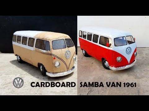 WOW!  Volkswagen Samba van || How to make Classic van 1961 with cardboard || DIY || Electric toy van