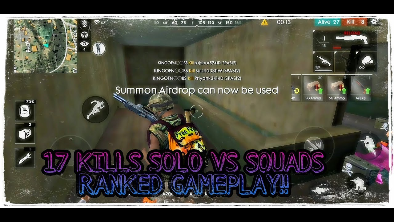 17 Kills Ranked Solo Vs Squads Gameplay Free Fire Battlegrounds