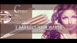 CkeyiN Three Barrels Tourmaline Ceramic Hair Curler Large Wave Perm Splint Curling Iron HS154