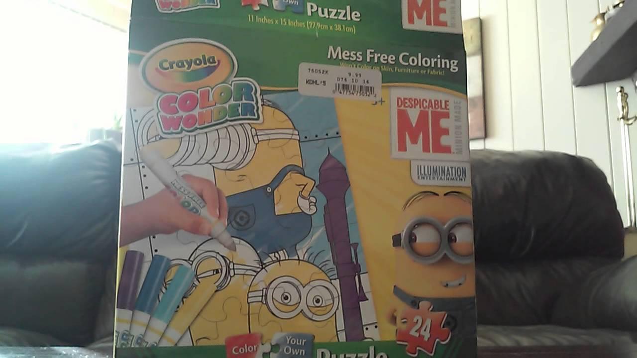 minion puzzle color wonder