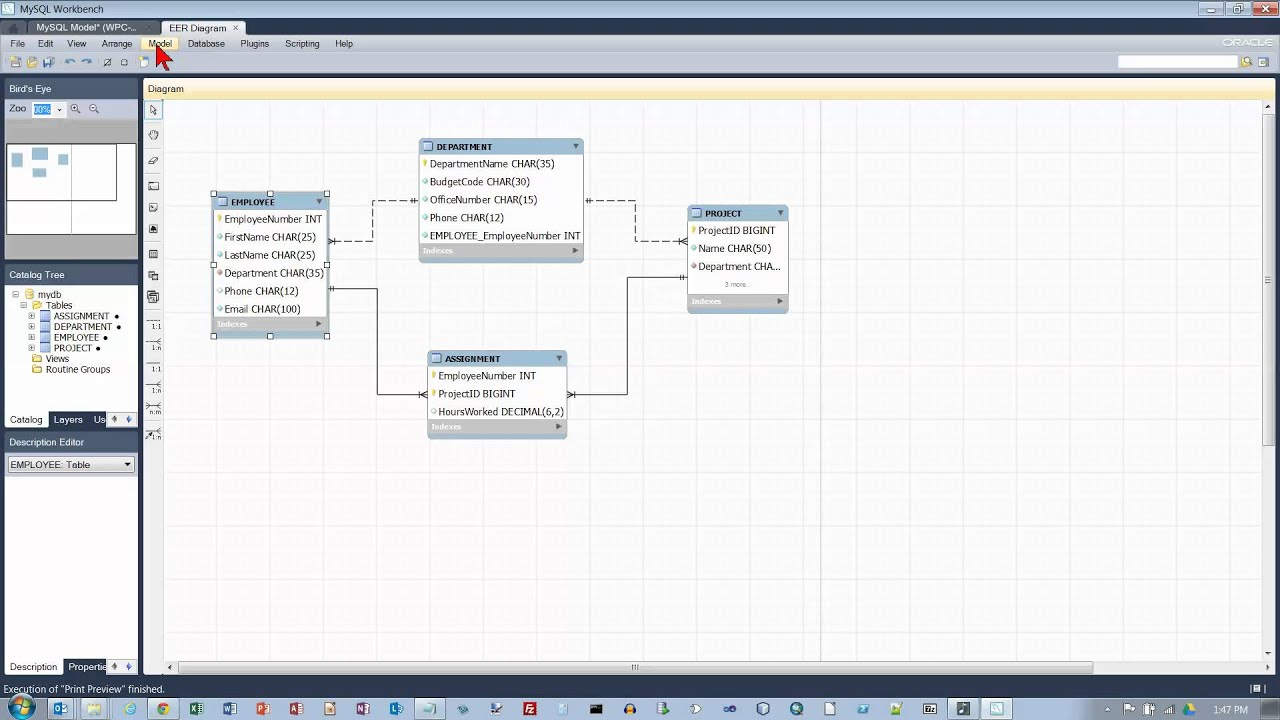 mysql workbench: changing eer model pages printed