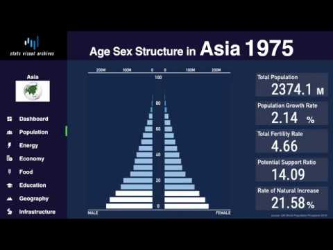 Asia - Changing of Population Pyramid & Demographics (1950-2100)