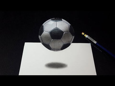 How to Draw 3D Floating Soccer Ball Football - Amazin 3D Art