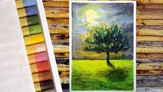 Moonlight Landscape Drawing with Oil Pastels / Tree drawing easy / oil pastel drawing for beginners