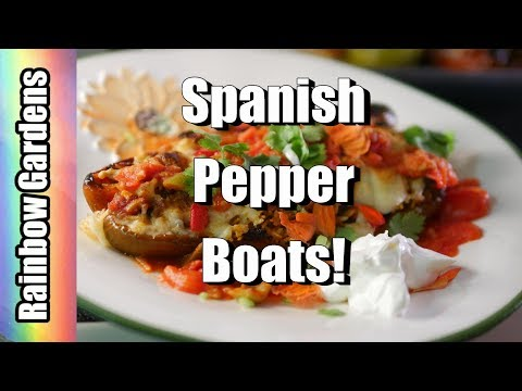 5 Ingredient Pepper Boats! Spanish Inspired Stuffed Peppers, Harvest Peppers & Tomatoes + More!