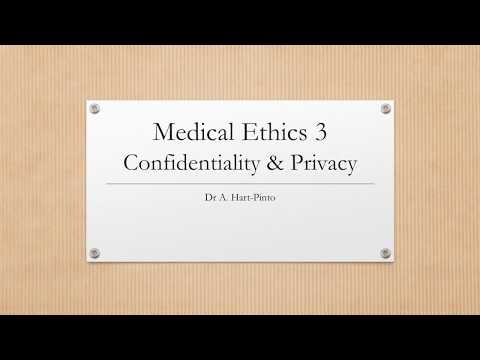 Medical Ethics 3 - Confidentiality & Privacy